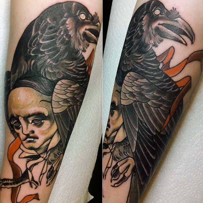 Edgar Allan Poe tattoo by by Miss Tiny Becca
