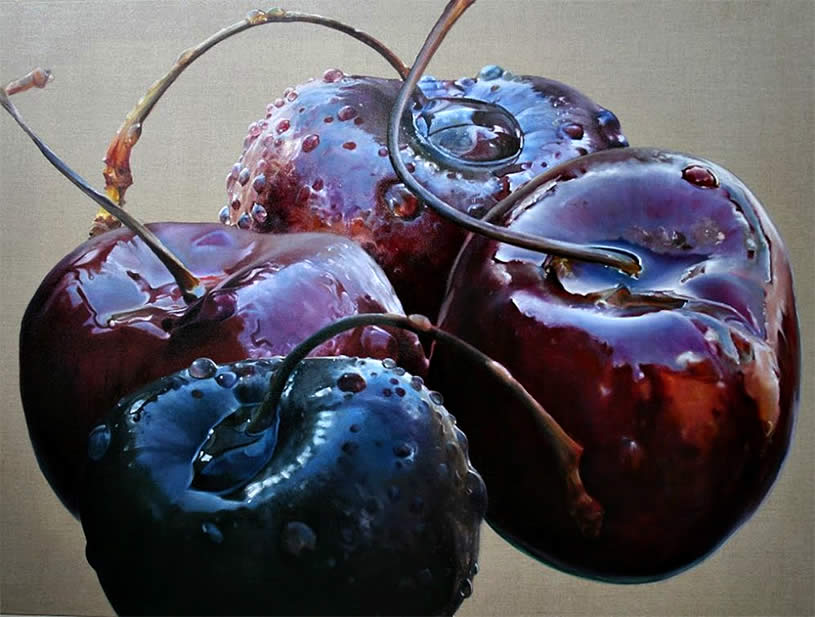 Bright and shiny cherries by Anne Middleton