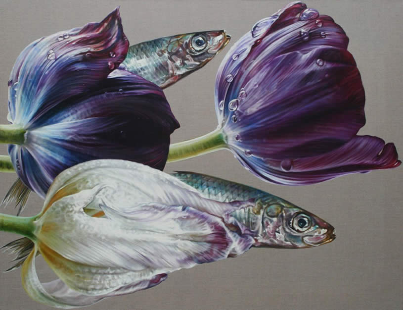 Sardines and tulips by Anne Middleton