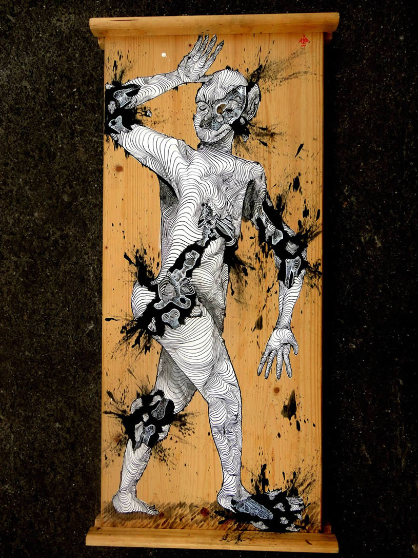 Black and white painting on wood by Awer