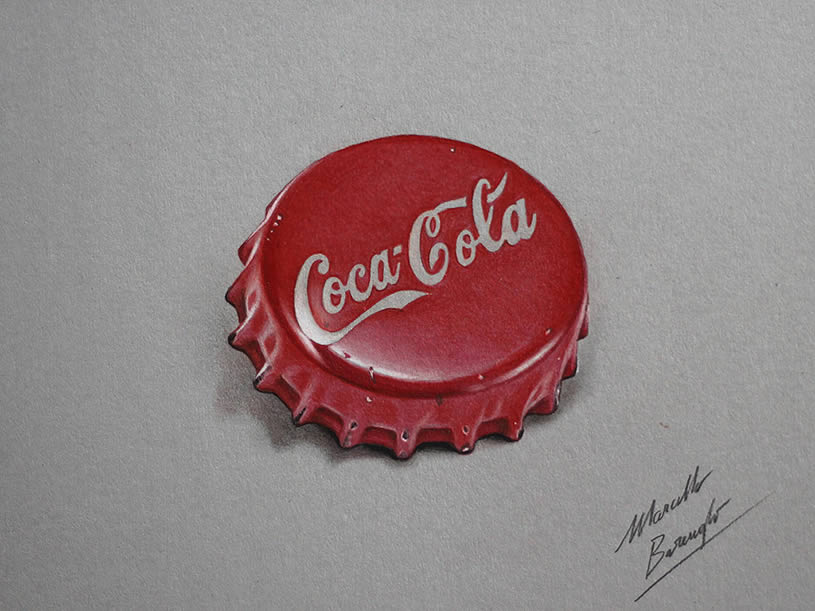 Coca-cola cap. Realistic art by Marcello Barenghi
