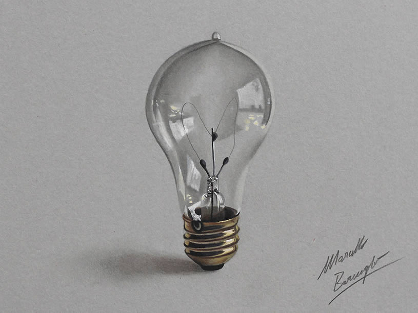 Lightbulb drawing by Marcello Barenghi