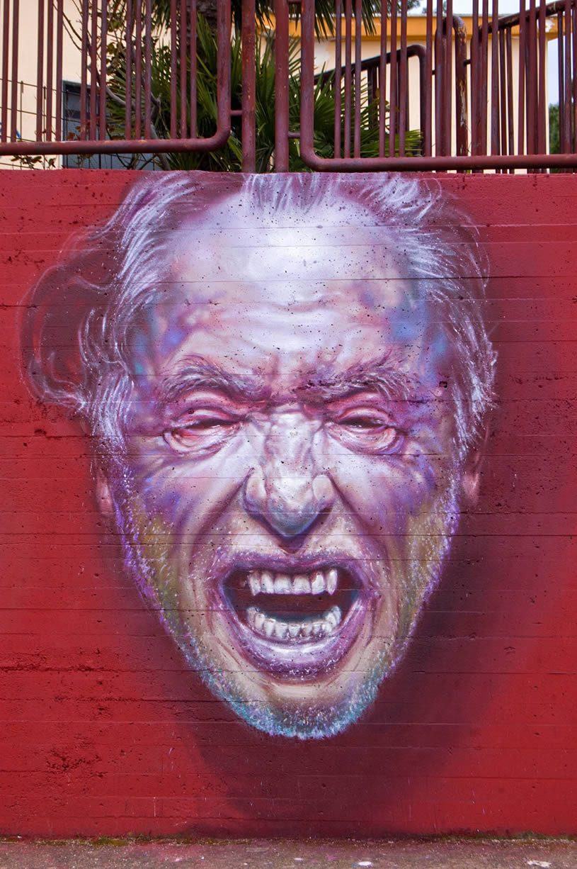 Dracula teeth man on mural by Caktus&Maria