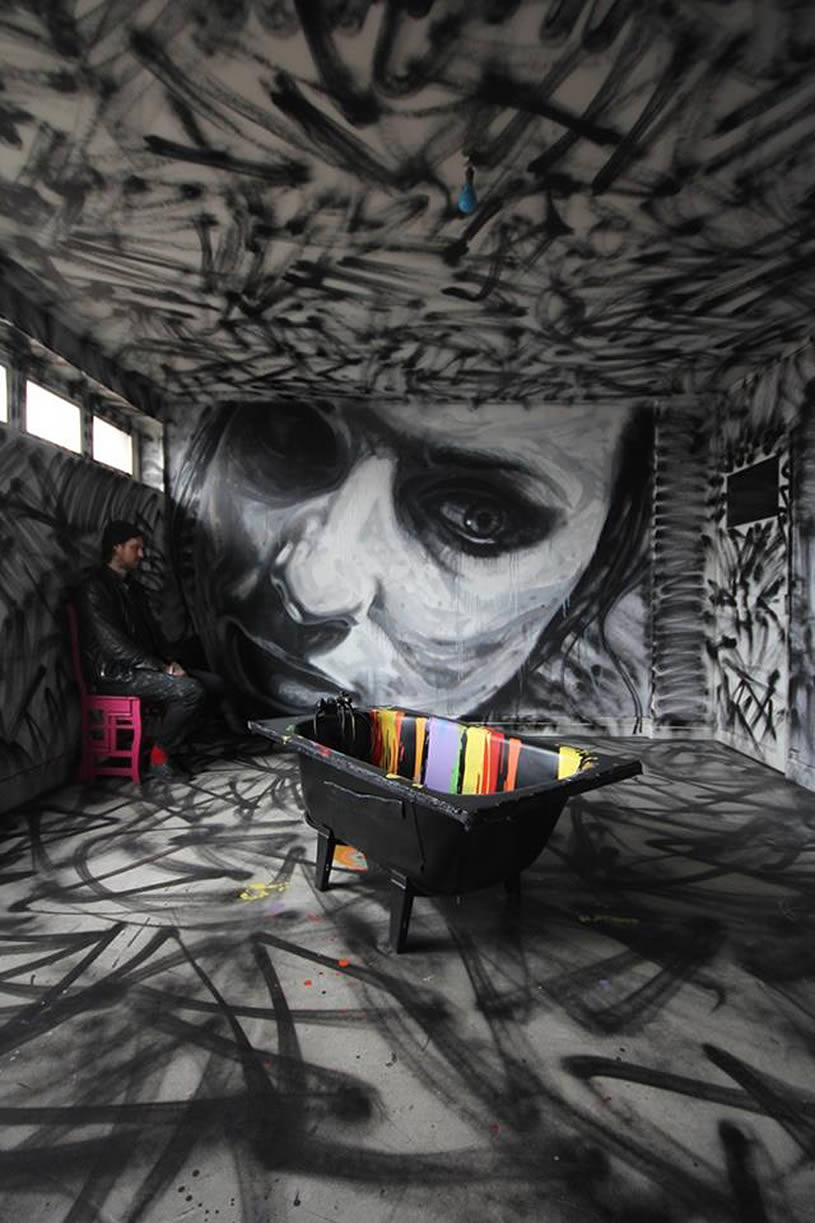 Indoor wall mural of woman by David Walker