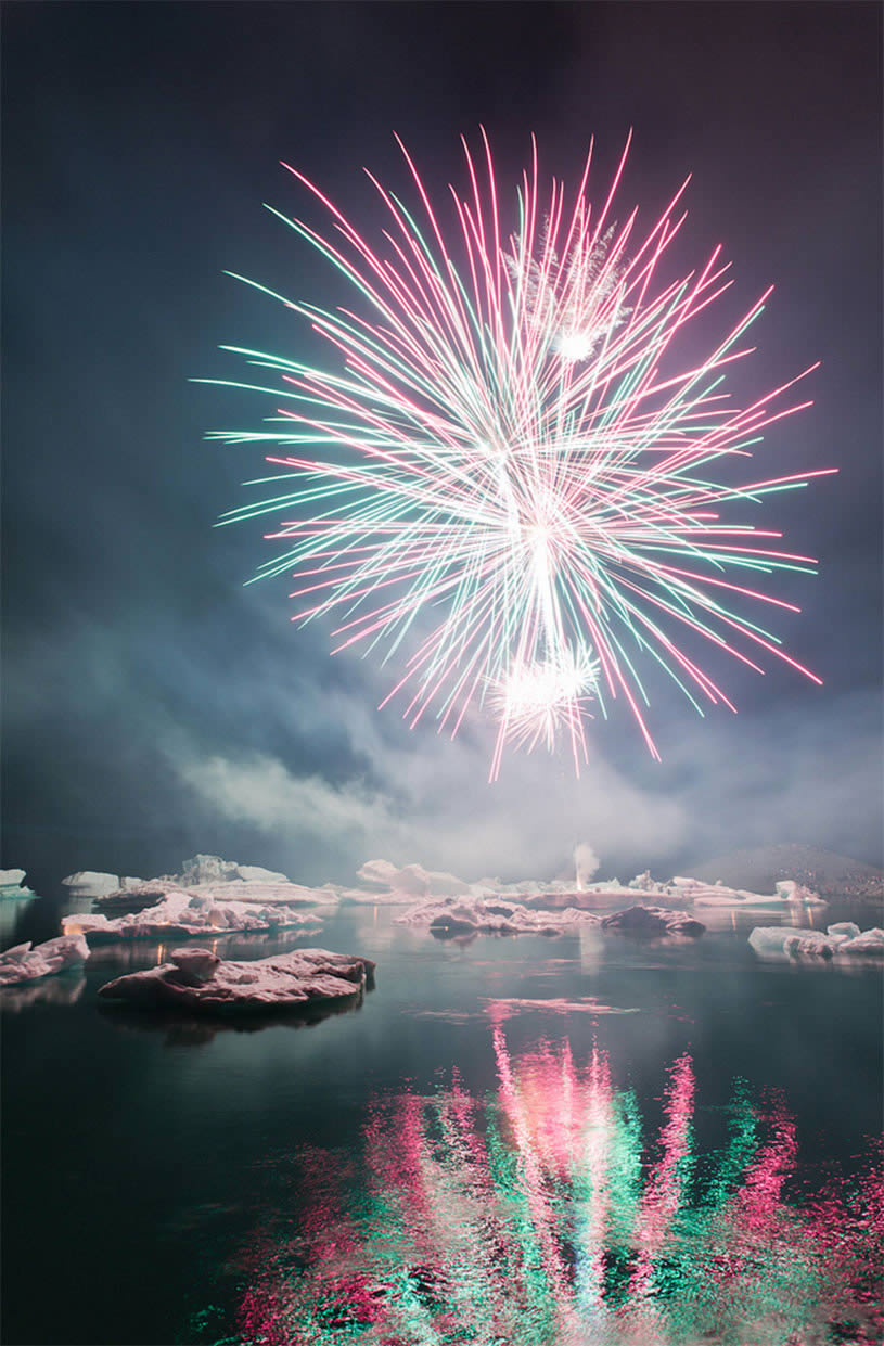 Once a year there is a firework-show at Jökulsárlón.  By Oscar Bjarna