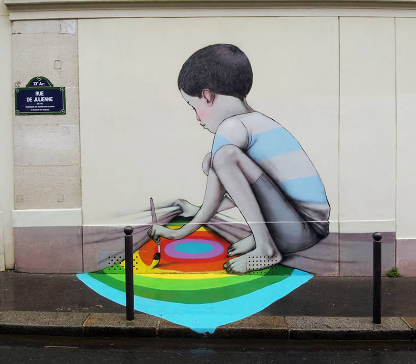 Kid Coloring The Ground By Globepainter