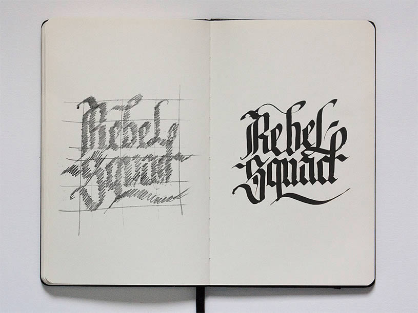 Rebel Squad Lettering on Sketchbook by Jackson Alves