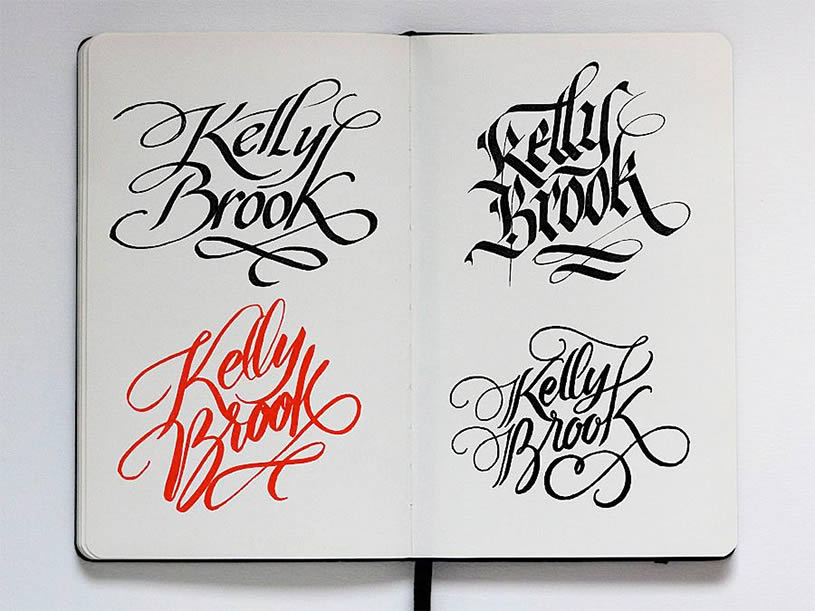 Kelly Brook lettering on Sketchbook by Jackson Alves