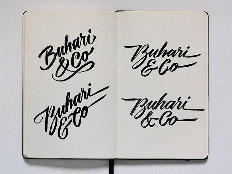 Buhari & Co lettering on sketchbook by Jackson Alves