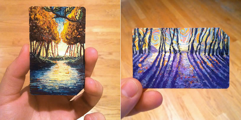 Paintings on Metro cards by James R. Eads
