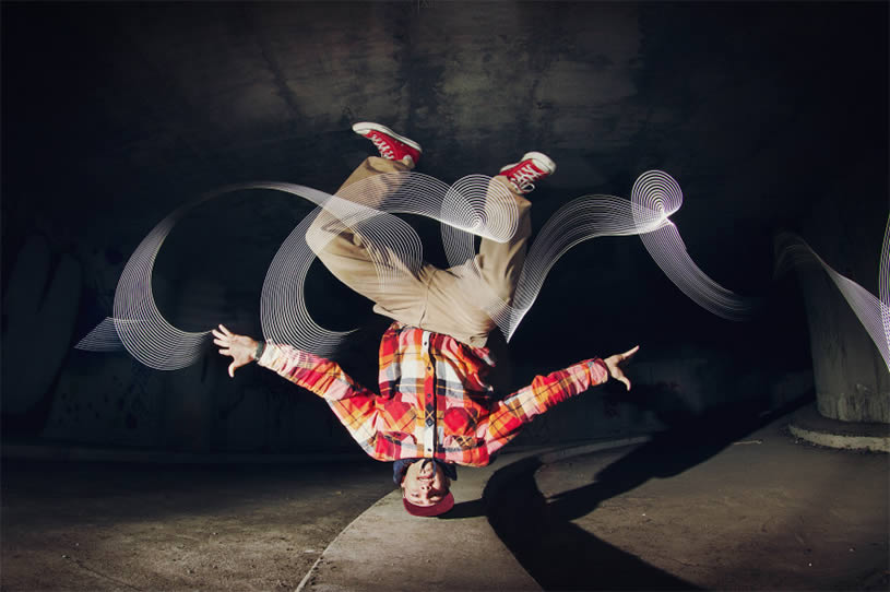 Break dancing on head. Light painting. Photo by Joanna Jaskolska