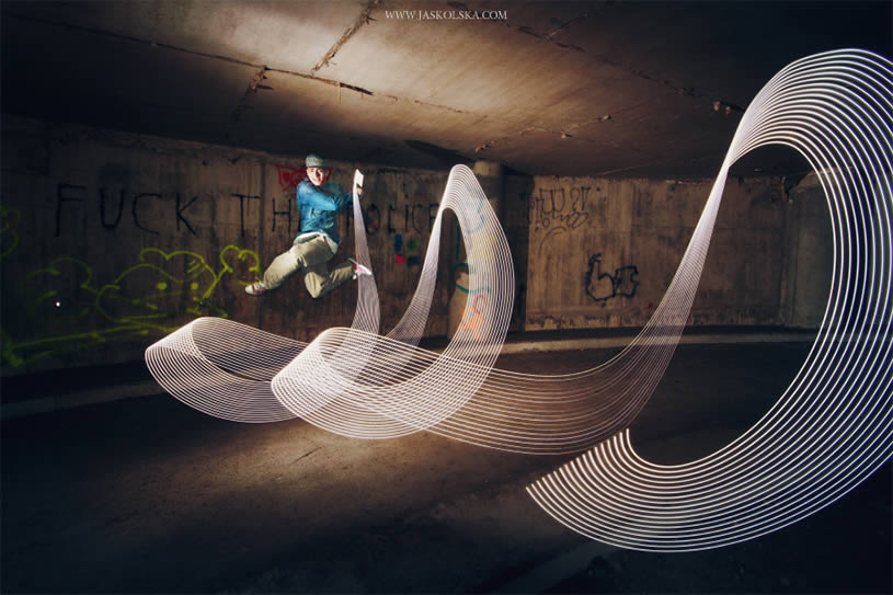 Light painting and jump by Joanna Jaskolska
