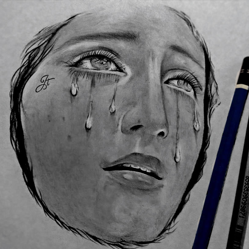 Crying Woman drawing by  Jatinder Singh