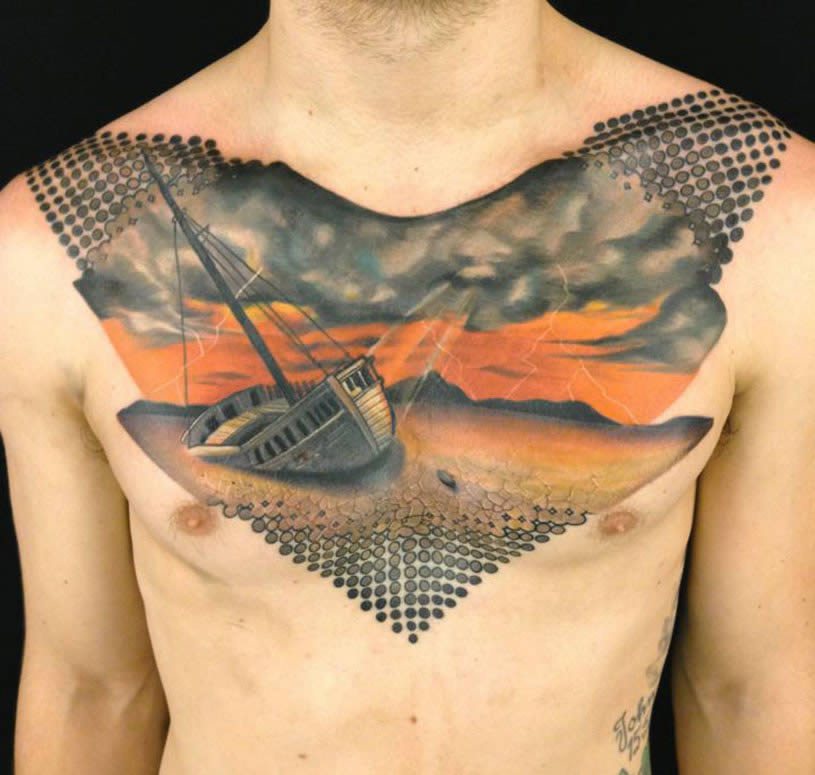 Boat and sea chest tattoo by Josh Payne
