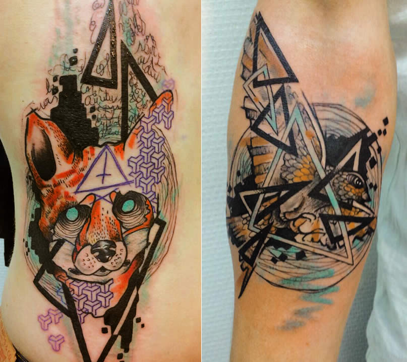 Fox and triangle tattoos by Jubss Lili Contraseptik