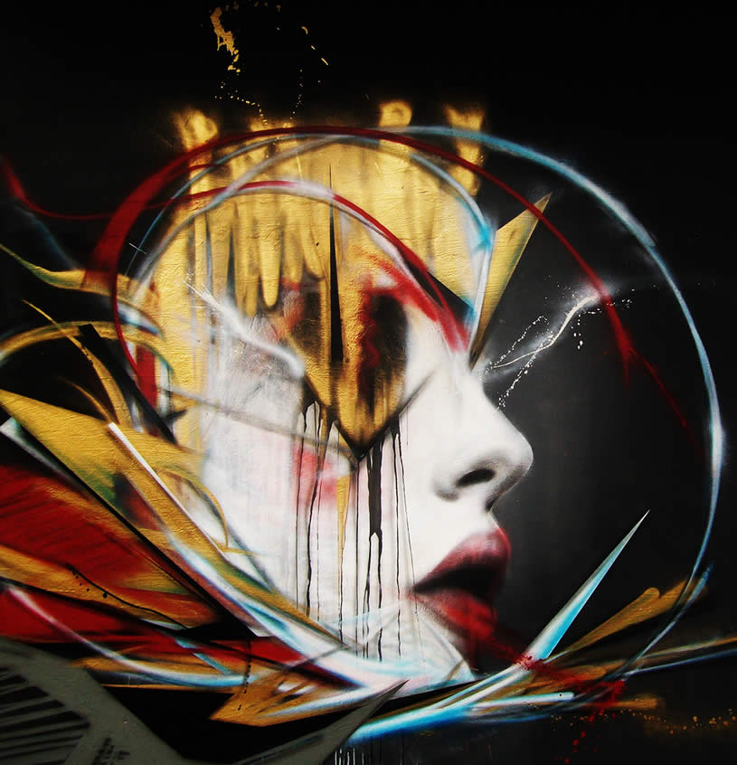 Gold and Red woman street art by L7m