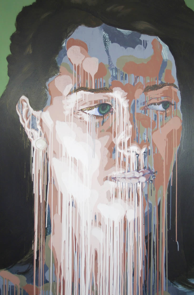 Woman portrait with dripping paint by Max Fesl