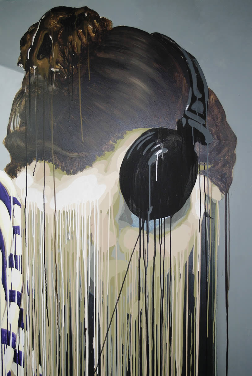 Headset girl with paint dripping by Max Fesl