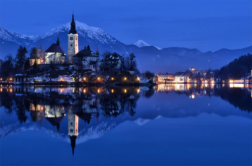 Blue tower reflection