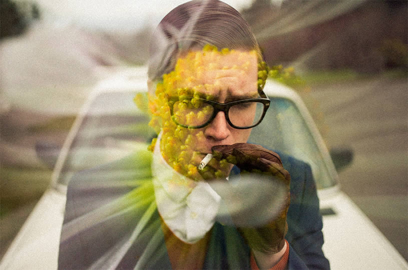 Yellow flowers and smoking guy by Nathan Bobey