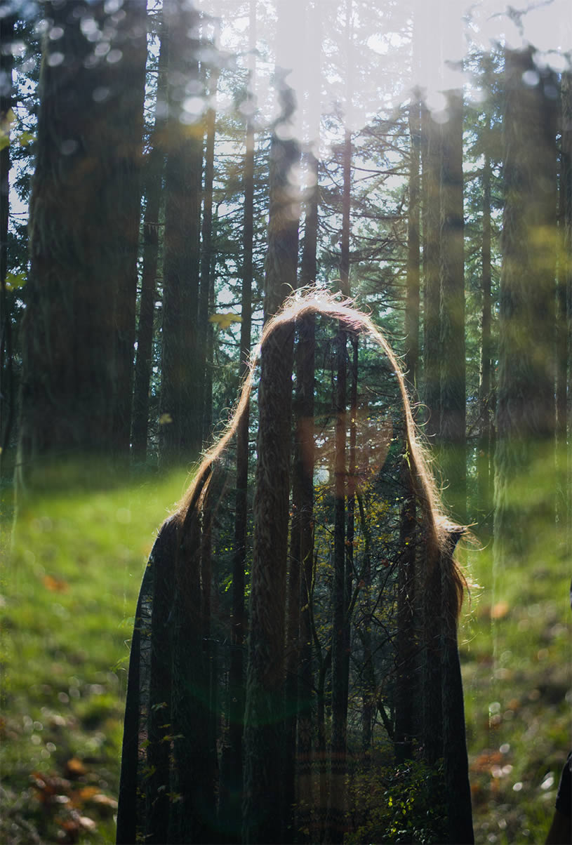 Double exposure. Girl and trees by Nathan Bobey