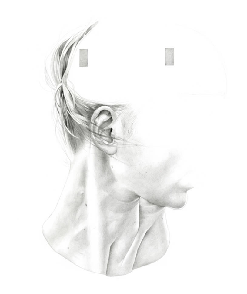 Neck and part of face drawing by Oriana Fenwick