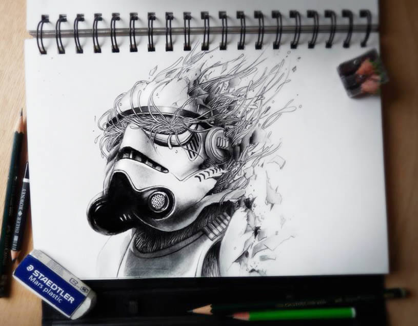 3D Storm Trooper sketchbook drawing by Pez
