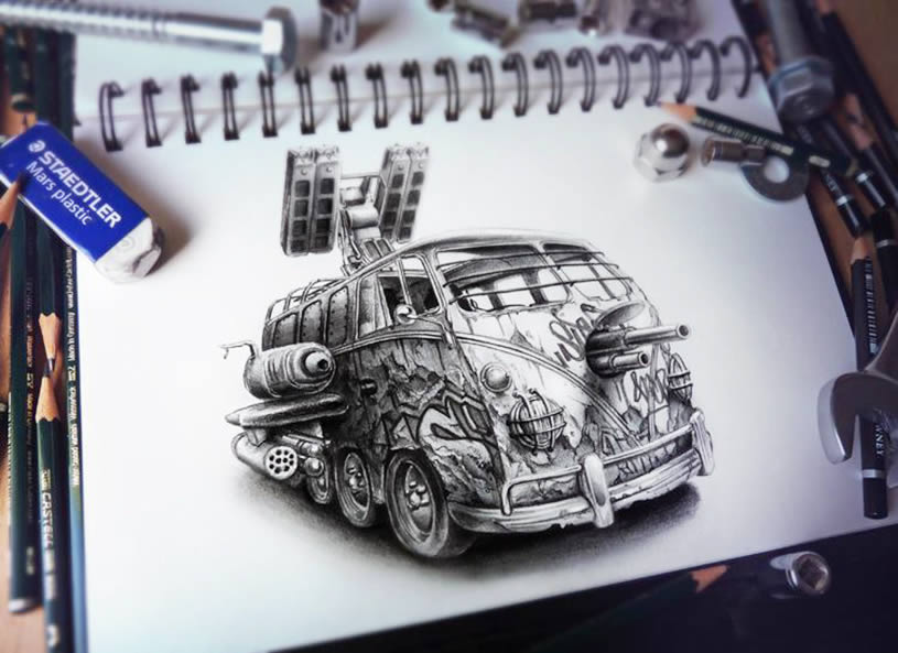 WV van sketchbook drawing by Pez
