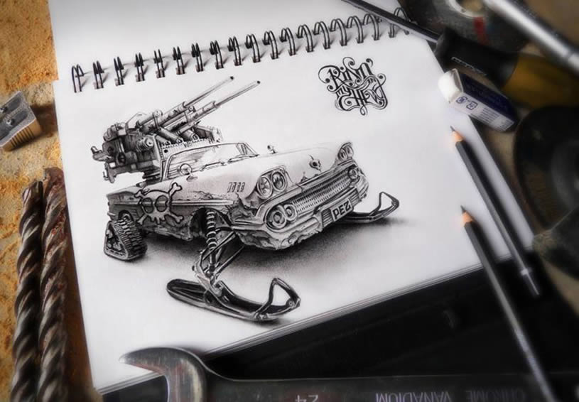 Car with guns sketchbook drawing by Pez