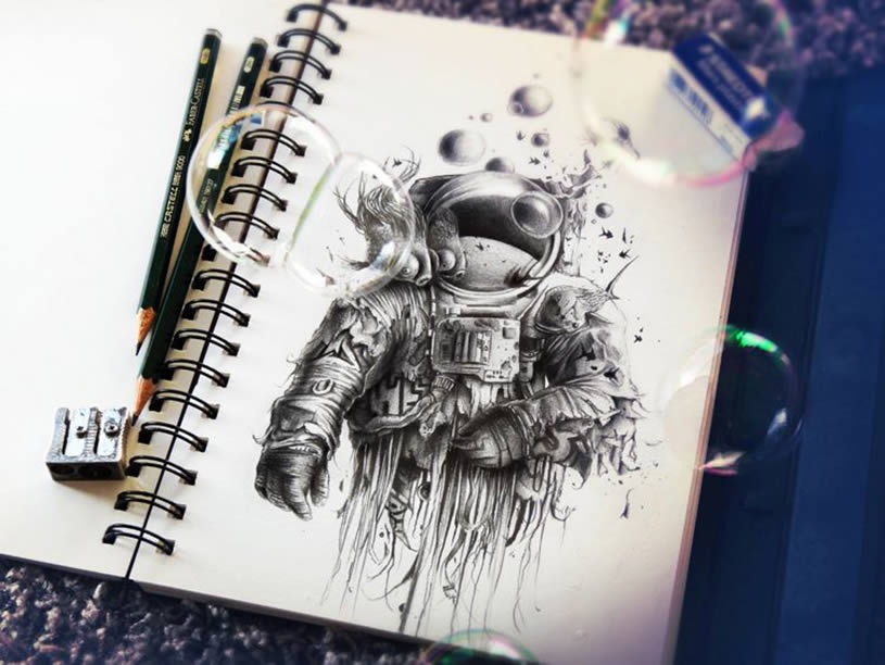 astronaut sketchbook drawing by Pez