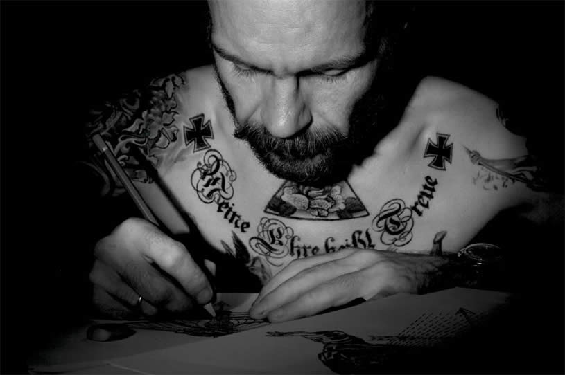 Andrey Svetov working on a drawing