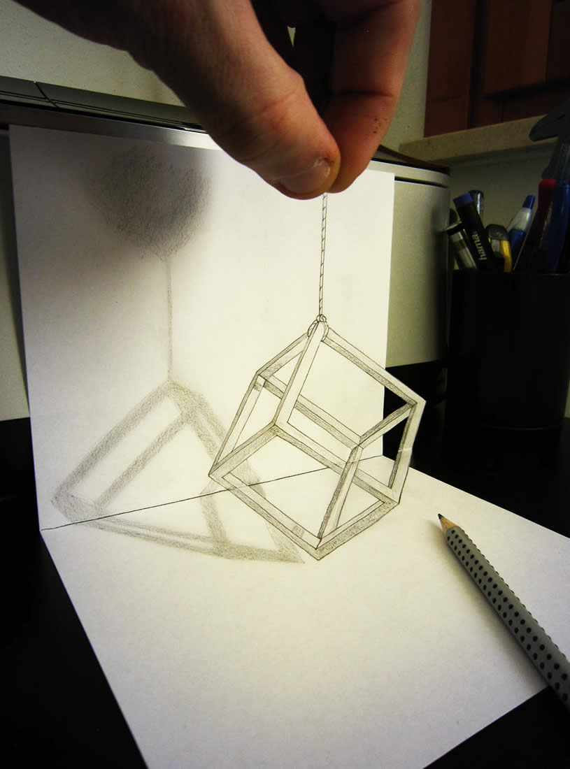 3d Cube anamorphic drawing by Alessandrodd
