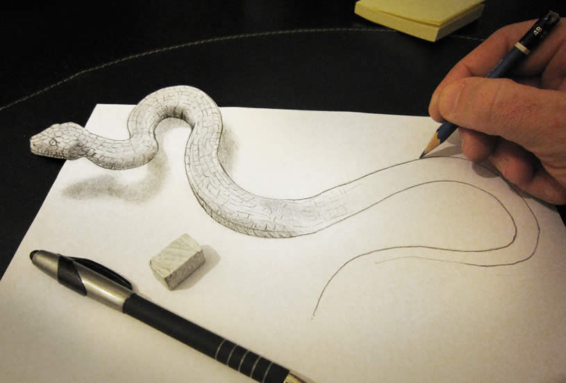 3d Snake anamorphic drawing by Alessandrodd