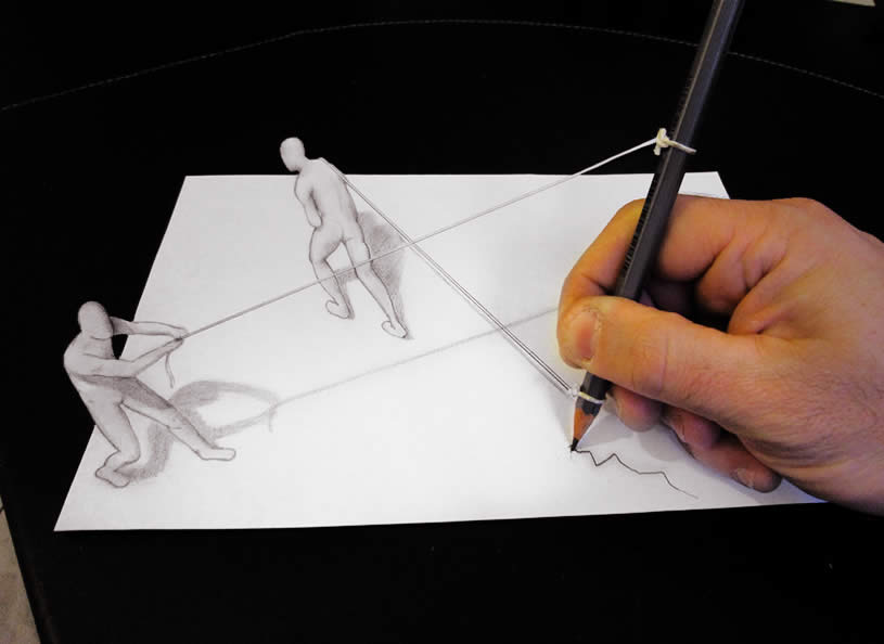 Men pulling rope, anamorphic drawing by Alessandrodd