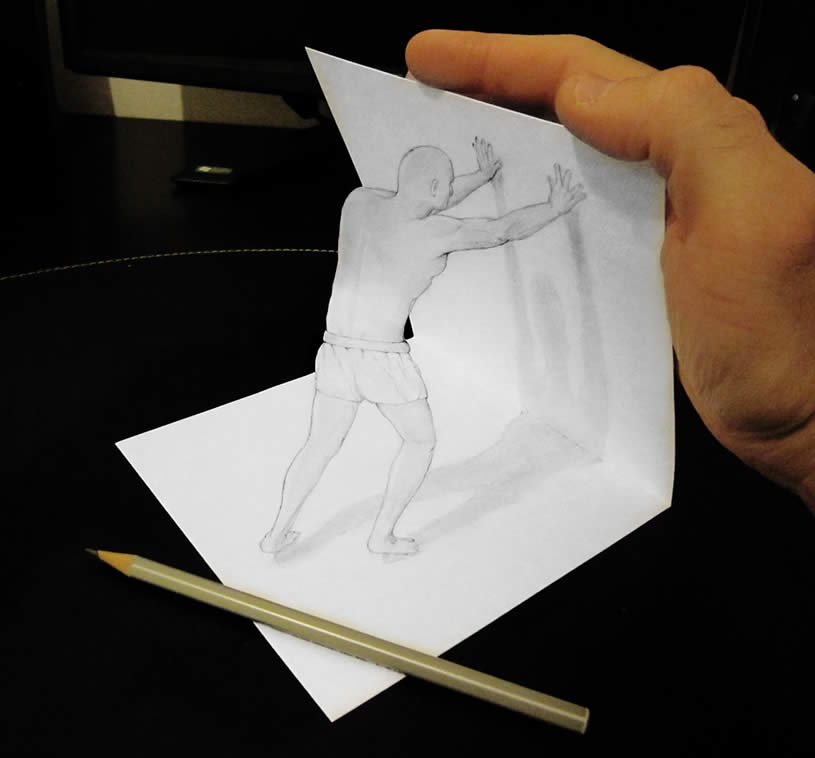 Man pushing wall, anamorphic drawing by Alessandrodd