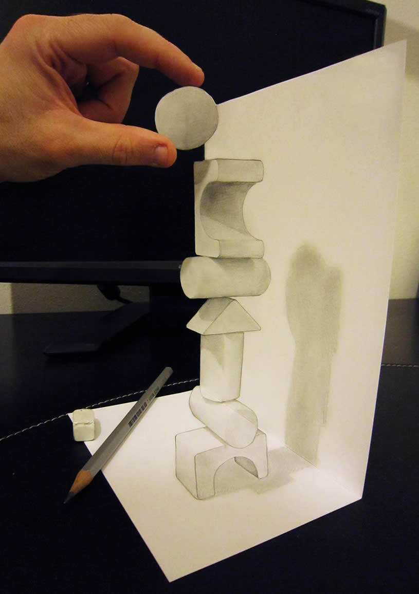 3d Shapes stacked, anamorphic drawing by Alessandrodd