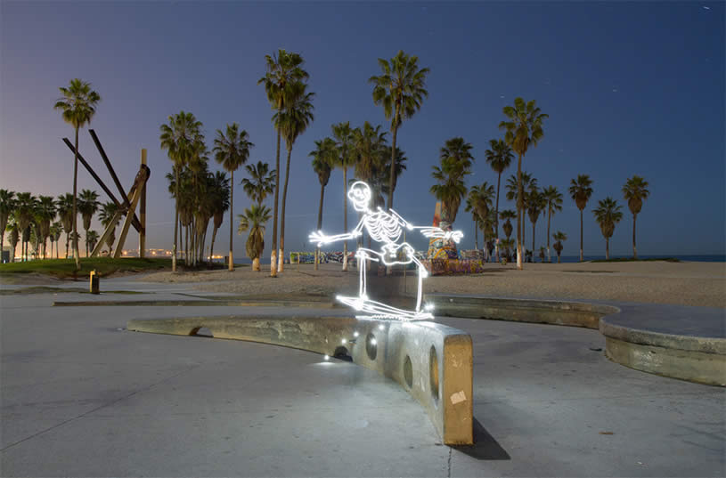 Skeleton on Skateboard in LA. Light painting by Darius Twin
