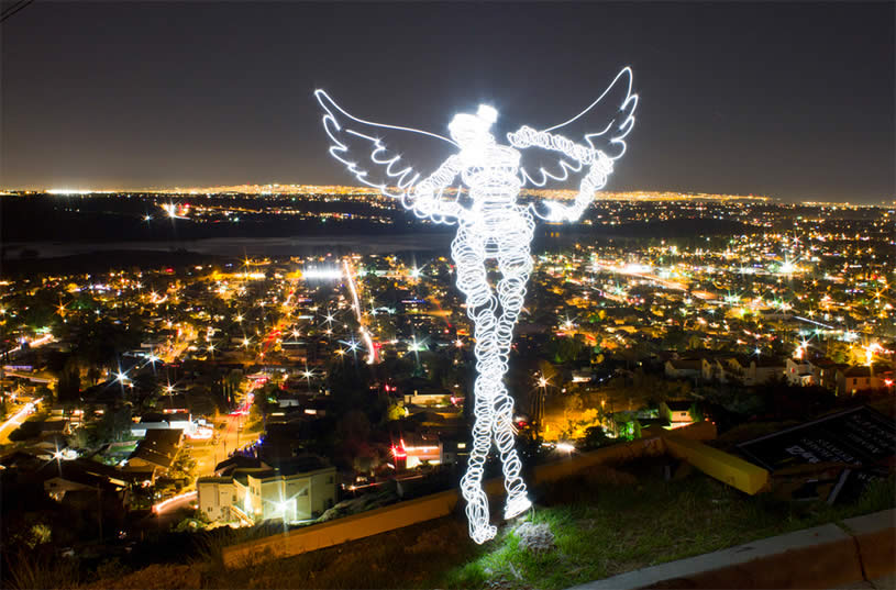 Light painting of Angel in LA. By Darius Twin