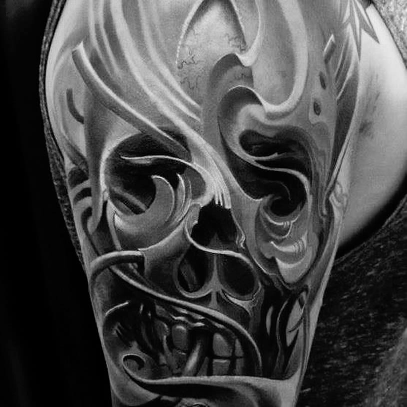 Wavy 3d skull tattoo by Piotr Deadi Dedel