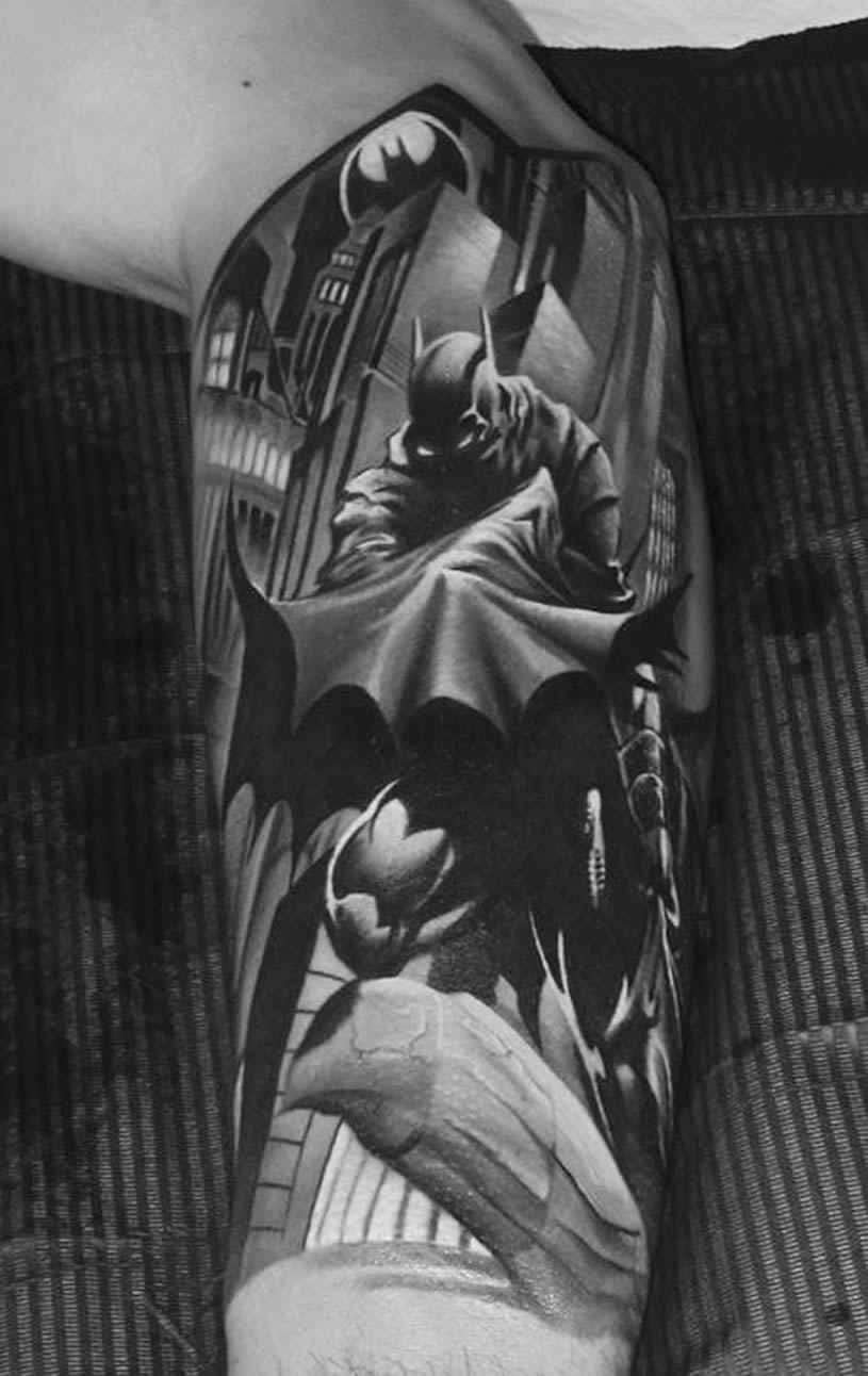 Realistic Batman tattoo by Piotr Deadi Dedel