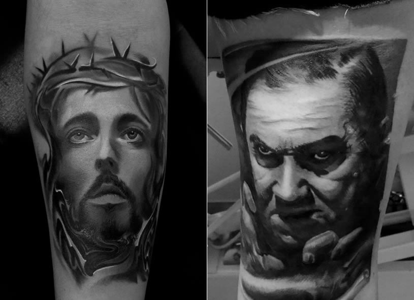 Jesus and man tattoos by Piotr Deadi Dedel