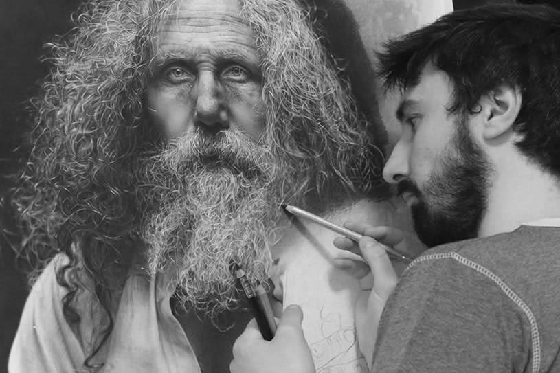"Artist drawing ""The Father"""