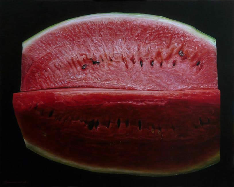 Realistic watermelon painting by Emanuele Dascanio