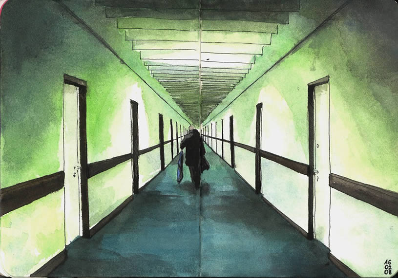Man walking down hall, moleskine drawing by GomJabber