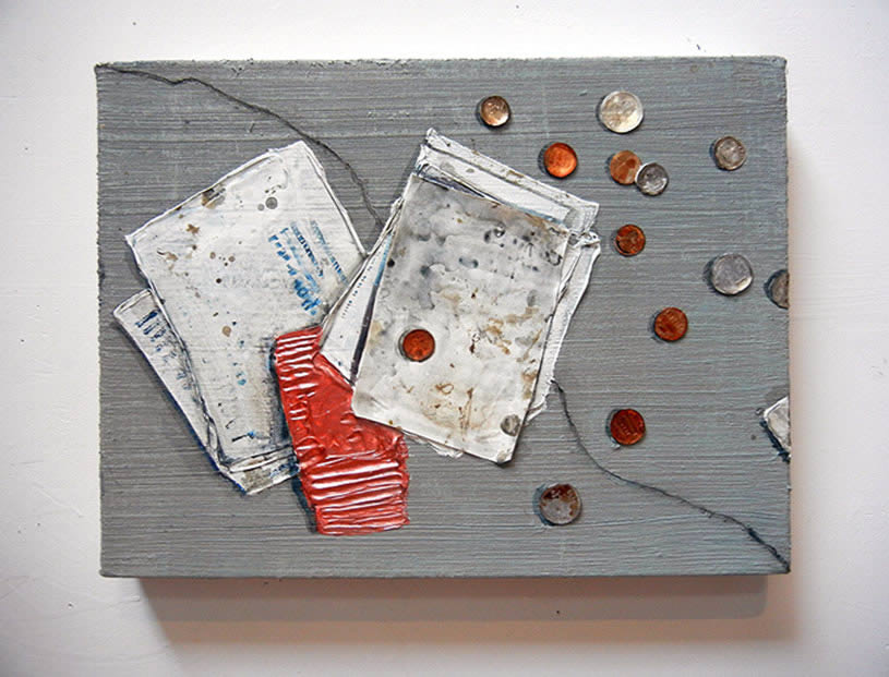Papers and coins on counter, painting by Hilary Doyle