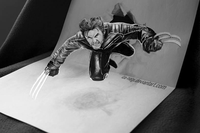 Wolverine jumping out of page. Anamorphic drawing by Izanagi Aadi