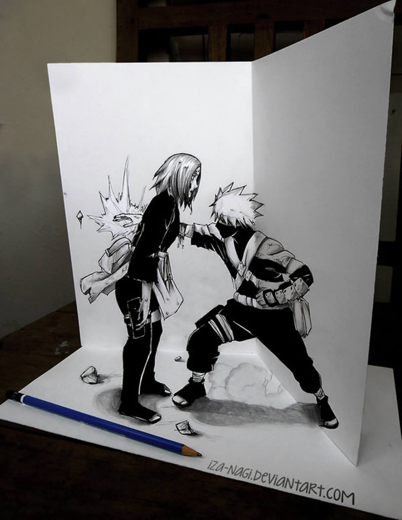 Asian comic character fight. Anamorphic drawing by Izanagi Aadi