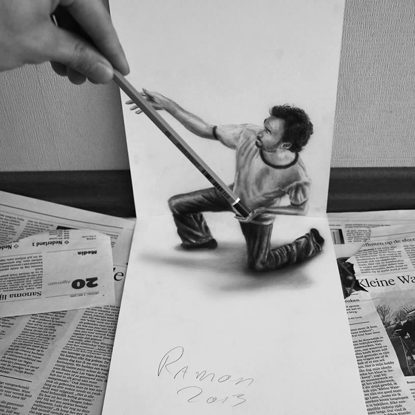 Anamorphic man pulling pencil by JJK Airbrush