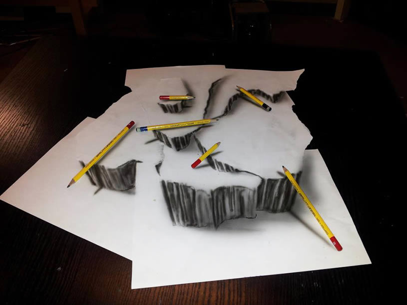 Anamorphic drawing with pencils by JJK Airbrush