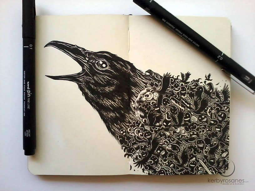 Crow doodle on moleskine by Kerby Rosanes